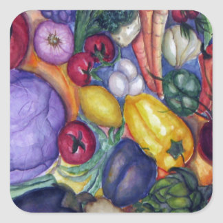 Vegetable Watercolor Art Square Sticker