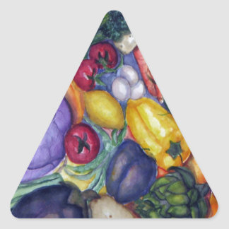 Vegetable Watercolor Art Triangle Stickers