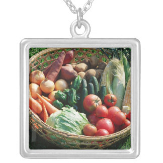 Vegetables 5 silver plated necklace