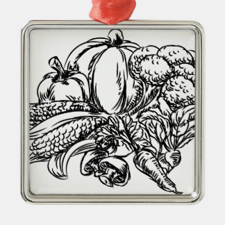 Vegetables Grunge Style Hand Drawn Icon Silver-Colored Square Decoration