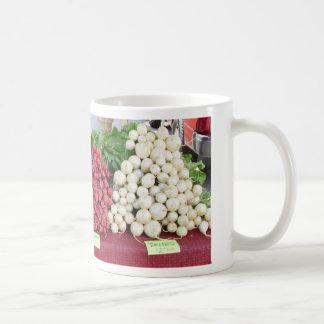vegetables on table @ farmers market basic white mug