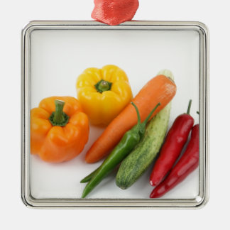 Vegetables. Silver-Colored Square Decoration
