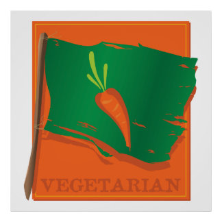 Vegetarian Carrot Flag Poster
