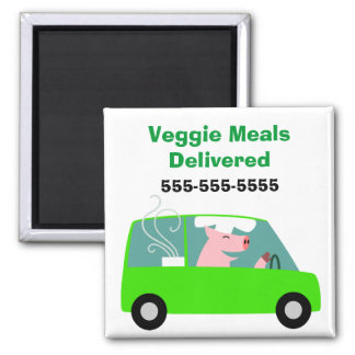 Vegetarian Catering Delivery Square Magnet
