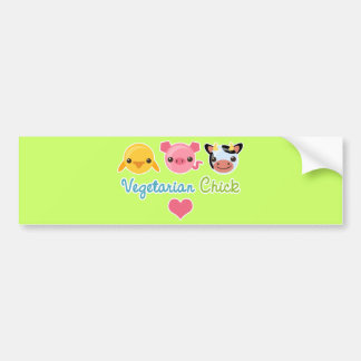 Vegetarian Chick Bumper Sticker