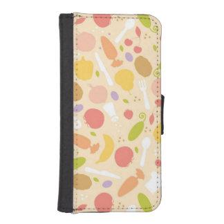 Vegetarian cooking pattern background iPhone SE/5/5s wallet case