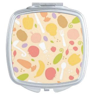 Vegetarian cooking pattern background makeup mirror