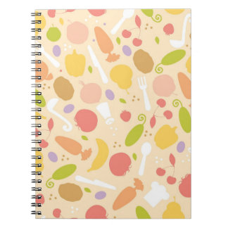 Vegetarian cooking pattern background notebooks