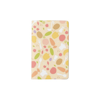 Vegetarian cooking pattern background pocket moleskine notebook