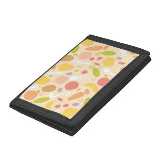 Vegetarian cooking pattern background trifold wallet