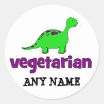 Vegetarian - Dinosaur Design Classic Round Sticker