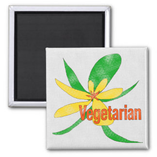 Vegetarian Flower Square Magnet