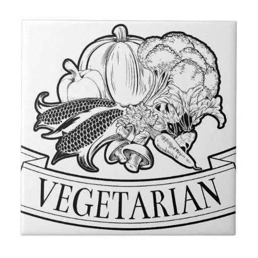 Vegetarian food label ceramic tile