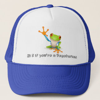 Vegetarian frog on blue trucker hat