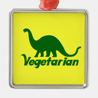 Vegetarian Green Dinosaur Christmas Ornament