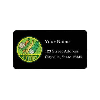 Vegetarian Grunge Address Label