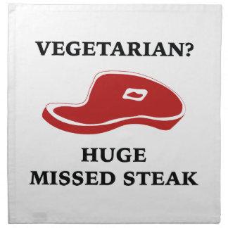 Vegetarian? Huge Missed Steak Cloth Napkins