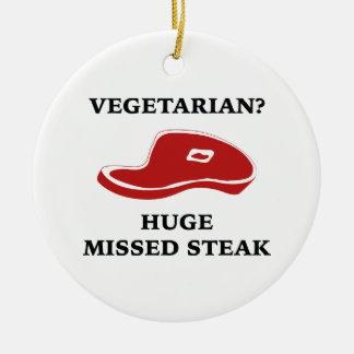 Vegetarian? Huge Missed Steak Christmas Tree Ornaments