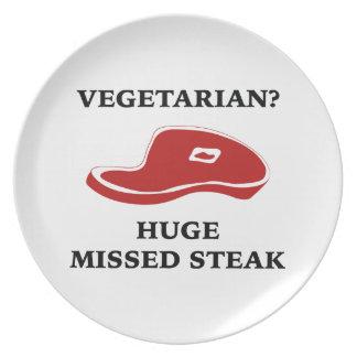 Vegetarian? Huge Missed Steak Party Plate