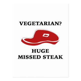 Vegetarian? Huge Missed Steak Postcard