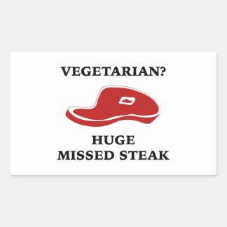 Vegetarian? Huge Missed Steak Rectangular Sticker