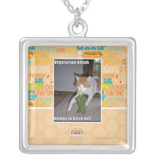 Vegetarian Kitteh Silver Plated Necklace
