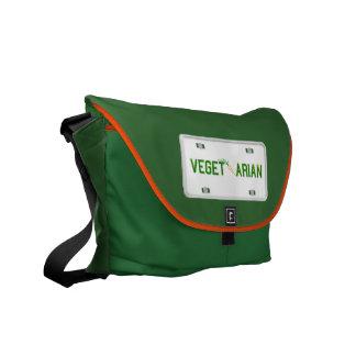 Vegetarian License Plate Messenger Bag