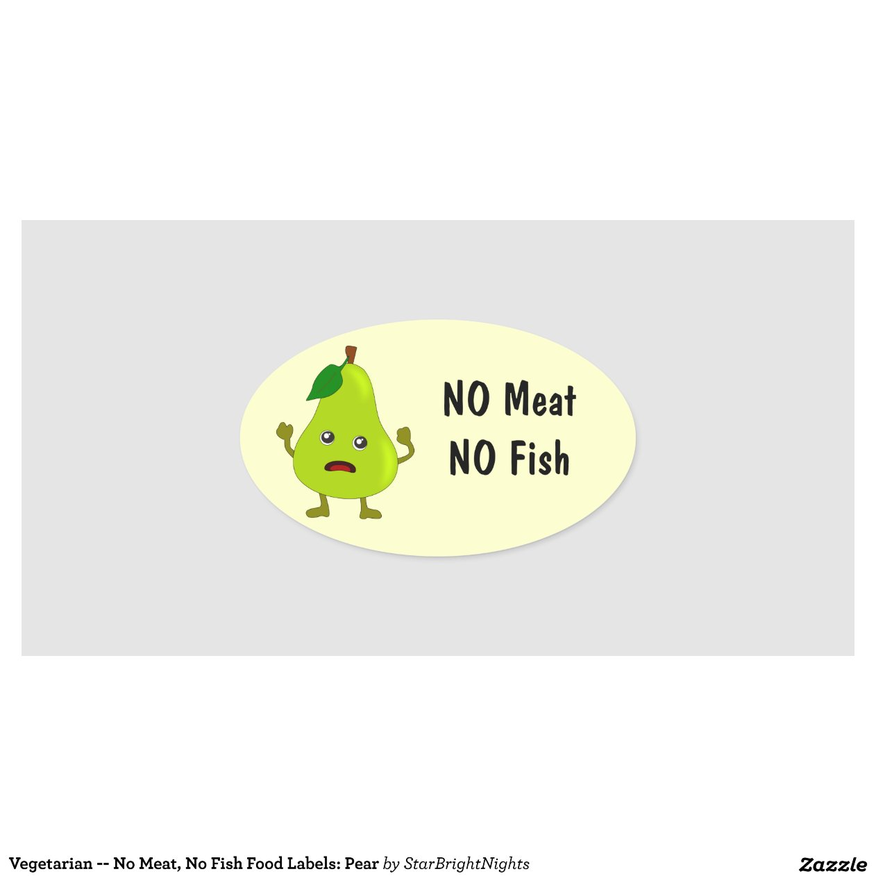 Vegetarian no meat no fish food labels pear zazzle for Vegetarian that eats fish