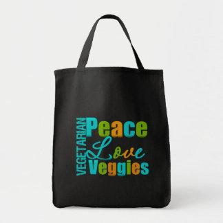 Vegetarian Peace Love Veggies Tote Bags