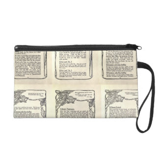 Vegetarian Recipe from a Vintage Cookbook Wristlet Clutches