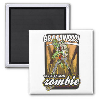 Vegetarian Zombie Square Magnet