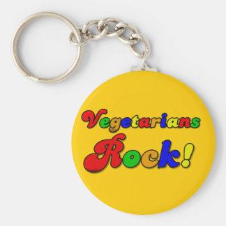Vegetarians Rock Basic Round Button Key Ring