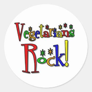 Vegetarians Rock (retro style) Round Sticker