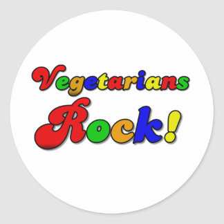 Vegetarians Rock Round Sticker