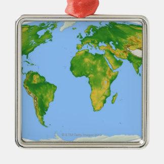 Vegetation Map 4 Silver-Colored Square Decoration