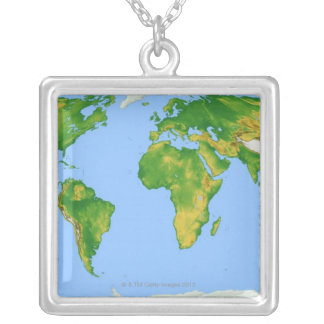 Vegetation Map 4 Silver Plated Necklace