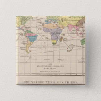 Vegetationsgebiete, Thiere Atlas Map 15 Cm Square Badge