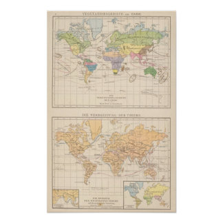 Vegetationsgebiete, Thiere Atlas Map Poster