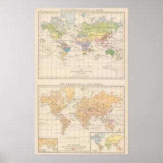 Vegetationsgebiete, Thiere Atlas Map Poster