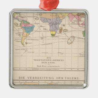 Vegetationsgebiete, Thiere Atlas Map Silver-Colored Square Decoration