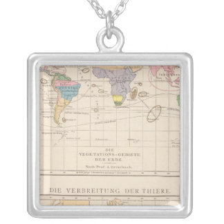 Vegetationsgebiete, Thiere Atlas Map Silver Plated Necklace
