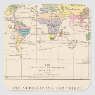 Vegetationsgebiete, Thiere Atlas Map Square Sticker