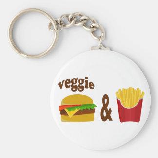 Veggie Burger and Fries Basic Round Button Key Ring
