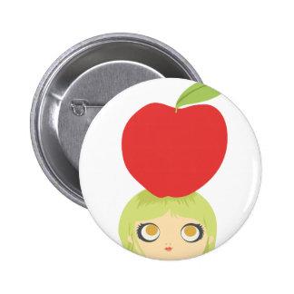 Veggie Cute Apple button 1