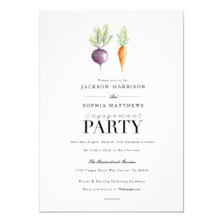 Veggie Duo | Watercolor Engagement Party Invite