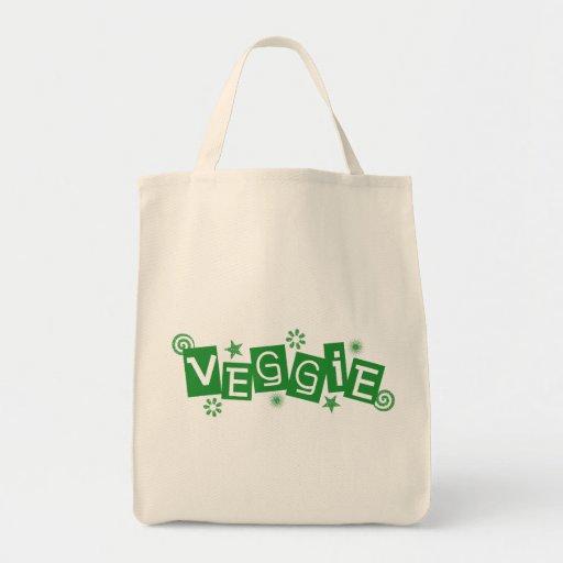 Veggie, For Vegetarians and Vegans Tote Bags
