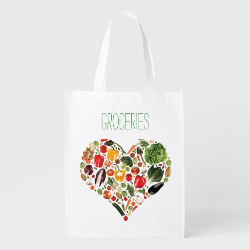 Veggie Heart Reusable Grocery Bag