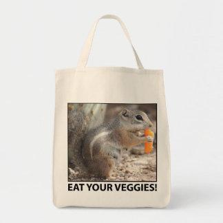 Veggie Loving Squirrel Canvas Tote Tote Bags