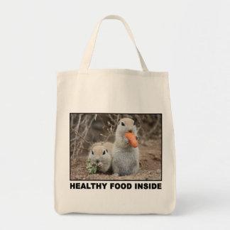 Veggie Loving Squirrels Canvas Tote Grocery Tote Bag