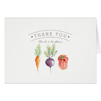 Veggie Patch Watercolor Thank You Card